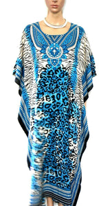 Kaftan, tribal from Iban longhouses, Sarawak (Borneo), teal/black NEW, one sz.