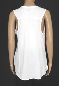 Calvin Klein top, pink & white with pocket, sz. 12/M  as new