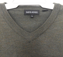 Load image into Gallery viewer, David Jones khaki green V neck  sweater, merino wool, sz. L, exc. cond.