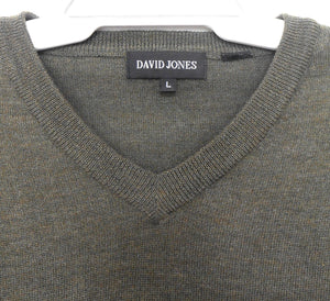 David Jones khaki green V neck  sweater, merino wool, sz. L, exc. cond.