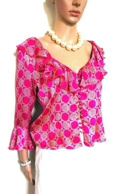 Simona silk blouse, neckline frill, sz. 10-12 hot pink, NWOT - all seasons wear