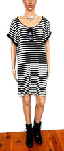 "Load image into Gallery viewer, Minkpink striped tunic dress, sz. 14/L ""Escape Plan"", near  new - black & white"