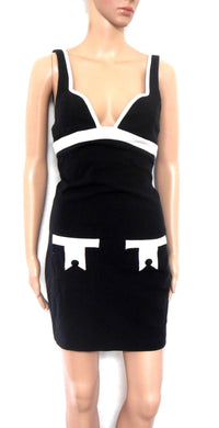 Sass & Bide black sun dress, sz. 6, white trim