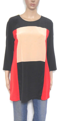Country Road  silk tunic top, block colours, sz. 10-12/S black/red/beige