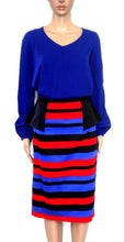 Load image into Gallery viewer, Queenspark skirt, black/red/blue - with waist pleats, sz. 12  NWOT