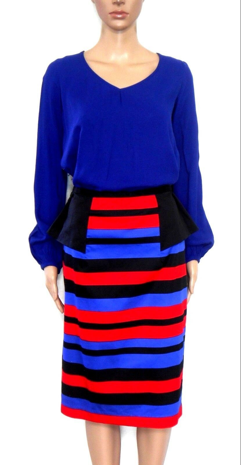 Queenspark skirt, black/red/blue - with waist pleats, sz. 12  NWOT