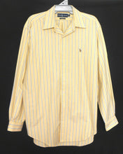Load image into Gallery viewer, Ralph Lauren buttermilk yellow striped shirt, classic fit, sz. L - XL, as new