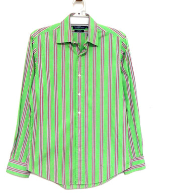 Ralph Lauren green striped shirt, sz. M - smart casual, Curham custom fit, near new