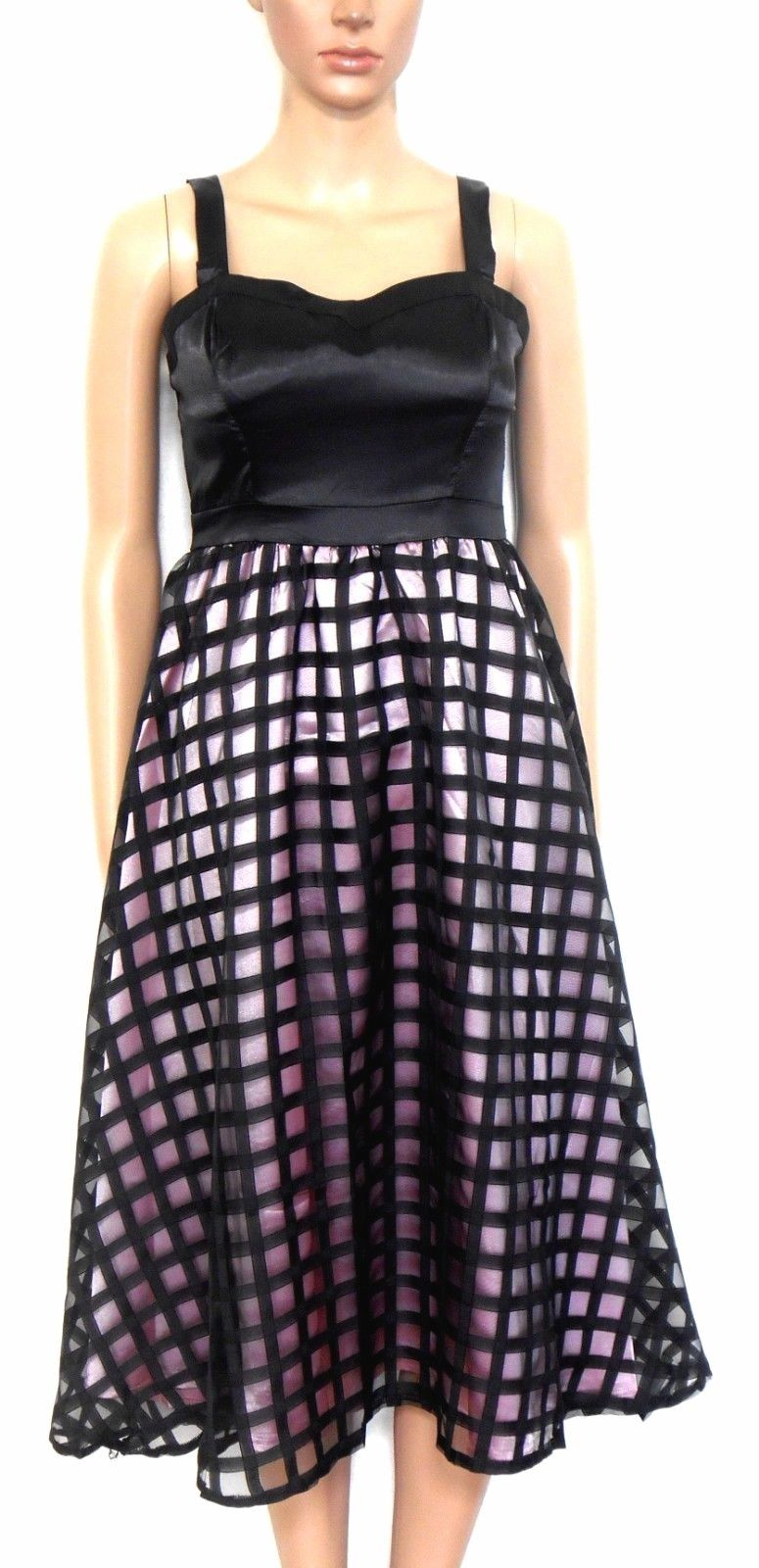 Saba  dress, spectacular design and style, black/pink shell lined, sz. 12, near new