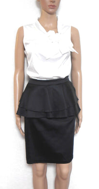 Forever New peplum pencil skirt, heavy black satin, sz. 12 - for all seasons, exc. cnd.