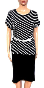 Country Road striped top, black & white, sz. 10-12/S, boat neckline, NWOT