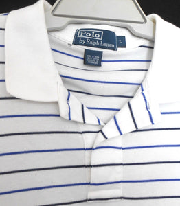Ralph Lauren white & blue striped  Polo tee shirt, sz. L/XL