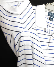 Load image into Gallery viewer, Ralph Lauren white & blue striped  Polo tee shirt, sz. L/XL