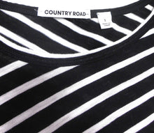 Load image into Gallery viewer, Country Road striped top, black & white, sz. 10-12/S, boat neckline, NWOT