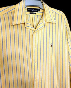 Ralph Lauren buttermilk yellow striped shirt, classic fit, sz. L - XL, as new