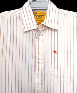 Abercrombie & Fitch cool shirt, with chest pocket, white/orange stripe, sz. L, exc. cnd.