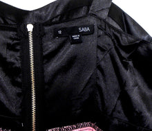 Load image into Gallery viewer, Saba  dress, spectacular design and style, black/pink shell lined, sz. 12, near new