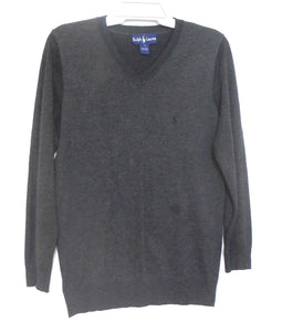 Ralph Lauren charcoal wool V neck sweater, sz.14/L, for all seasons, very good cnd.