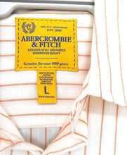 Load image into Gallery viewer, Abercrombie & Fitch cool shirt, with chest pocket, white/orange stripe, sz. L, exc. cnd.