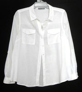 Just Jeans cool white shirt with pockets, sz. 16 - near new, cotton/linen, near new