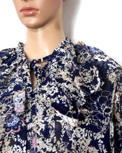 Load image into Gallery viewer, Nasty Gal, Ruffle collar oversized floral print dress dark blue, sz. 16  ***NWT