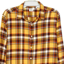 Load image into Gallery viewer, Uniqlo shirt, yellow.brown plaid flannel, NWOT, sz. L