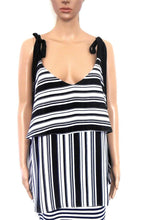 Load image into Gallery viewer, City Chic striped tunic top with shoulder ties, black & white, sz. 18/S as new