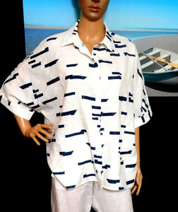 Charming Deer white shirt, loose styling, sz. 16, nautical look, exc. cnd.