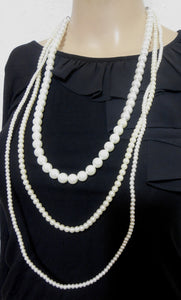 Pearl necklace, 3 strand - long - Made in Italy
