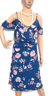 City Chic gorgeous floral wrap dress, dark blue, sz. XXL, as new