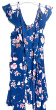 Load image into Gallery viewer, City Chic gorgeous floral wrap dress, dark blue, sz. XXL, as new