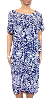 W. Lane French navy print jersey dress with side ties, sz. 14/L ***NWT