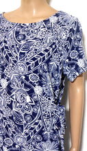 Load image into Gallery viewer, W. Lane French navy print jersey dress with side ties, sz. 14/L ***NWT