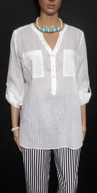 Sussan white shirt with pockets & adj. sleeves, sz. 12 - 14 NWOT