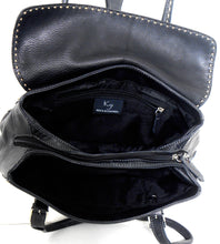 Load image into Gallery viewer, Koji black leather bag, medium size, 3 comp. exc. cnd.