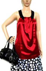 Guess cherry red satin tunic top, sz. 10/S - glamorous!