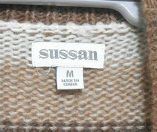 Load image into Gallery viewer, Sussan, earth tones striped alpaca blend fluffy cardigan, sz. 12/M, near new