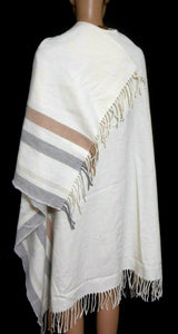 Witchery ivory poncho wrap with long fringe, long line, near new