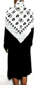 Blue Illusion  black dress with white scull large scarf wrap, sz. 16/XL, as new