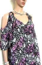 Load image into Gallery viewer, City Chic tunic top, loose styling with bare shoulders, sz. 20/L, black/pink, exc. cnd.