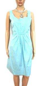 Veronika Maine dress, teal/aqua, sz. 10, pleated front, cool and classy casual, exc. cnd.