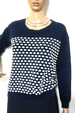 Don't ask Amanda cotton sweater, midnight blue/white polka dot, sz. 12/M