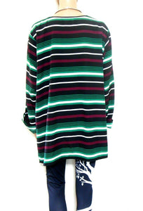 Michael Kors tunic top, loose and cool, dark green striped, sz. 20/2X, NWOT