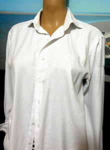 Van Heusen easy care white shirt with dots, sz. 12/39 - all seasons wear