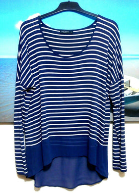 Just Jeans tunic top dark blue striped, sz. 12-14/M