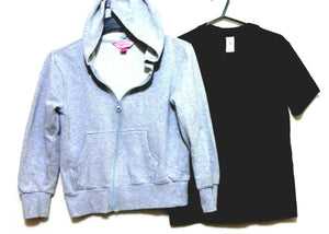 Pink Sugar grey hoodie for girls, sz.10 + Urban black tee sz. 10