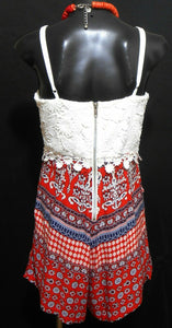 Ally playsuit, white crochet lace & exotic reds, sz. 12