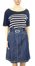Load image into Gallery viewer, Escada denim skirt, dark blue/white top stitch, sz. 14 - all seasons, exc. cnd.