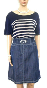 Escada denim skirt, dark blue/white top stitch, sz. 14 - all seasons, exc. cnd.