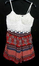 Load image into Gallery viewer, Ally playsuit, white crochet lace & exotic reds, sz. 12